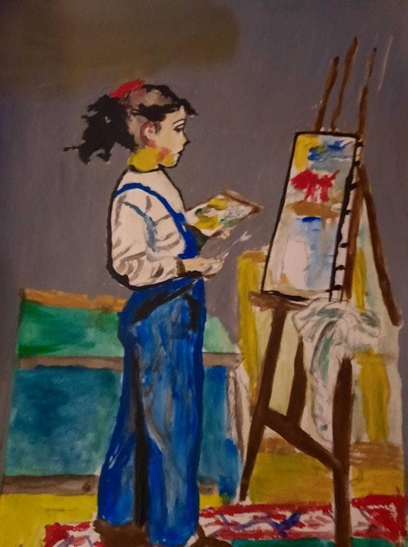 Une fille qui fait de la peinture. Jean-Louis Majerus Jean-Louis Majerus