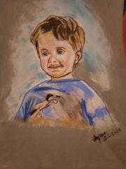Un petit garçon fait au crayon pastel. Jean-Louis Majerus