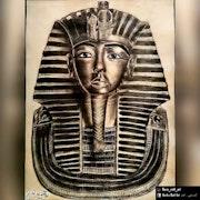 رسم القناع الذهبي لتوت عنخ آمون.