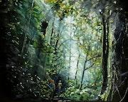 Balade en forêt tôt le matin.