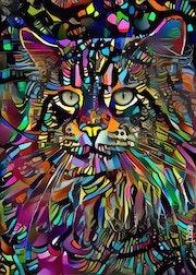 Mangooz, cat - Mix media on panel - 70x50 cm-OOAK. Léa Roche