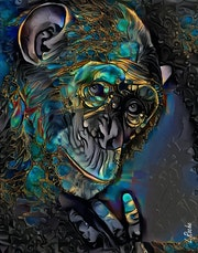Sangane, Monkey- Mix media on panel - 70x55 cm. Léa Roche