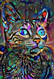 Lélé, cat - Mix media on panel - 70x50 cm-OOAK. Léa Roche