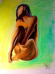 Nu Artistique Feminin Aquarelle sur Papier Aquarelle 30 gr d'après Photo. Nazca Spirit