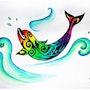 Aquarelle Revisitée Dauphin Maori Version Tatoo Multicolore sur Papier Aquarelle. Nazca Spirit