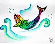 Aquarelle Revisitée Dauphin Maori Version Tatoo Multicolore sur Papier Aquarelle.