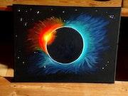 Peinture Acrylique Thème Espace: Eclipse de Soleil sur Toile coton châssis bois. Nazca Spirit