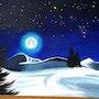 Peinture Acrylique sur Toile - Paysage de Montagne au Clair de Lune. Nazca Spirit