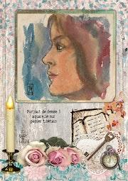Portrait de femme 3 - aquarelle sur papier tibétain.