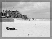 Photo Numérique Noir et Blanc Plage de Bray-Dunes année 2006.