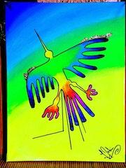 Acrylique sur Toile Coton Châssis bois - Le Vol du Condor - Lignes de Nazca. Nazca Spirit