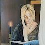 Jeune fille lisant peinture a l'huile sur panneau de 70 X 50 cm. Prost's Art