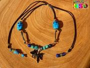 Collier Egyptien Ajustable Pendentif Dieux Bastet et Anubis Plaqué Or 18k. Nazca Spirit