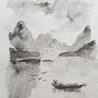 Paysage d'Asie, encre de chine. Yokozaza