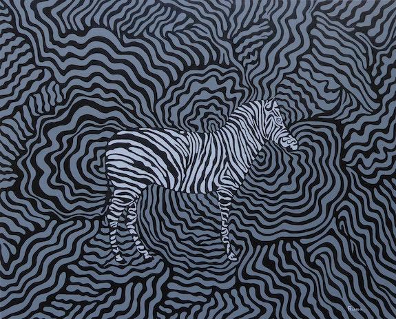 Le zèbre étalon dans les ondulations du troupeau. Fk Fk