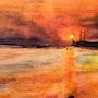 Sonnenuntergang am Strand von Blankenese. Ulli Kresse