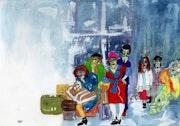 28- Esperando el Tren. Dibujos.. Carmen Luna