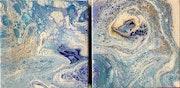 Blue dragon head on splashing waters.