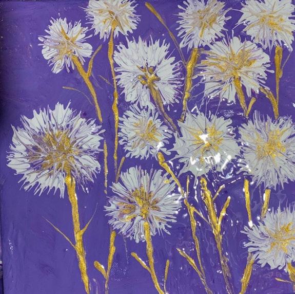 Golden dandelions on a purple sky. E. G. Estelblau