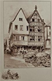 Albert Robida (1848-1926) : Reims, un jour de marché. Pans-de-bois..