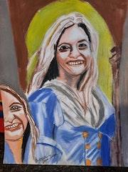 Portrait femme pastel sec. Jean-Louis Majerus