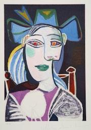Pablo Picasso Estate Collection Buste De Femme Au Chapeau Bleu Hand Signed, coa.