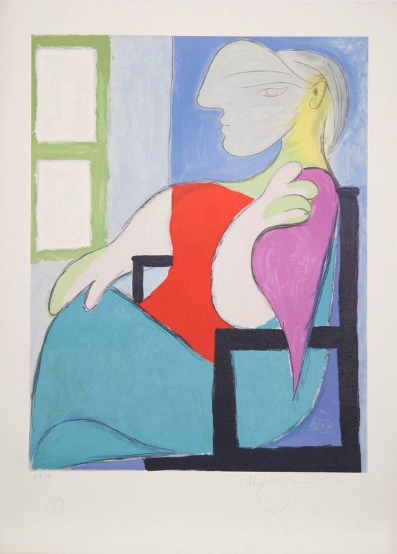 Pablo Picasso Femme Assise Pres D'une Fenetre Hand Signed with coa. Pablo Picasso Americaartgallery