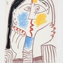 Pablo Picasso Tete Appuyee sur les Mains II Hand Signed Limited Edition with coa. Americaartgallery