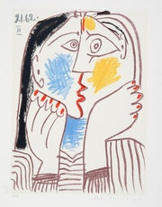 Pablo Picasso Tete Appuyee sur les Mains II Hand Signed Limited Edition with coa.