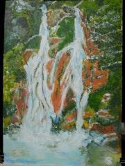 La cascade. Jean Claude Ciutad-Savary. Artiste Peintre