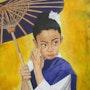 Jeune fille à l'ombrelle. Martine Lefebvre