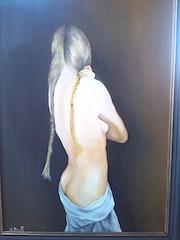 Nue de dos peinture à l'huile sur panneau de 70 X 50 cm. Prost's Art
