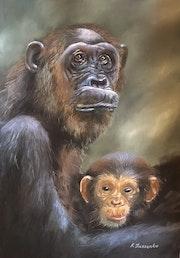Chimpanzees in the forest - realism wildlife monkey family nature. Ksenia Lutsenko