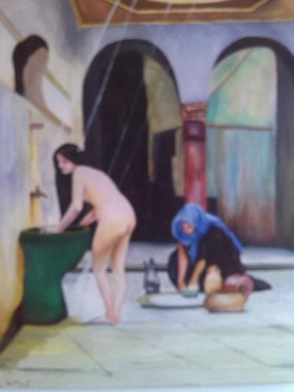 Le bain peinture à l'huile sur toile de 60 X 50 cm. Henry Prost Artiste Coté Prost's Art