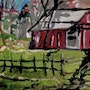 """Old Barn Scene 26 gg – 5"""" X 7"""" Canvas Painting. Gregory Gg Artist Bailey"""