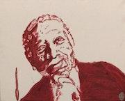 Actor Morgan Freeman gg 3 – 16″ X 20″ Canvas Painting. Gregory Gg Artist Bailey