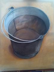 Le seau peinture à l'huile sur toile de 50 X 60 cm.