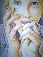 Le regard peinture à l'huile sur toile de lin de 60 X 50 cm.