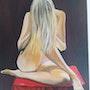 La nappe rouge (2020) peinture à l'huile sur toile de 50 X 70. Prost's Art