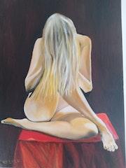 La nappe rouge (2020) peinture à l'huile sur toile de 50 X 70.