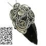 Steampunk Obsidian Arrowhead Pendant with Rhodolite Garnet. Heather Jordan Jewelry