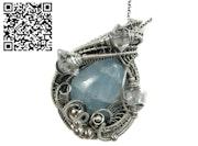 Celestite & Herkimer Diamond Pendant, Wire-Wrapped in Sterling Silver. Heather Jordan Jewelry