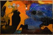 Peinture Abstraite Surréalisme La Vie En Couleur, Signé Par Joky Kamo. Joky Kamo