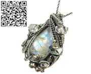 Rainbow Moonstone Pendant with Herkimer Diamonds. Heather Jordan Jewelry