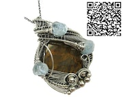 Petrified Wood and Aquamarine Pendant, Wire-Wrapped in Sterling Silver. Heather Jordan Jewelry