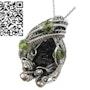 Black Tektite Pendant with Peridot, Sterling Silver Wire Wrap. Heather Jordan Jewelry