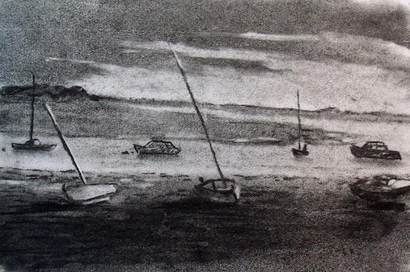 Les bateaux amarrés. L'atelier d'alexandra L'atelier d'alexandra