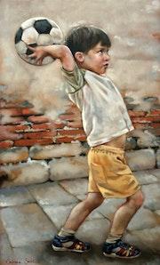 Petit garçon qui joue au ballon pastel sec. Jean-Louis Majerus