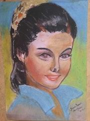 Portrait de femme au pastel sec. Jean-Louis Majerus