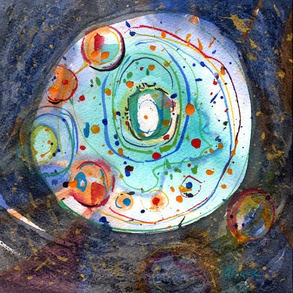 Peinture-Aquarelle-Abstrait-COSMOS. Annick Richard-Keller Annick Richard-Keller